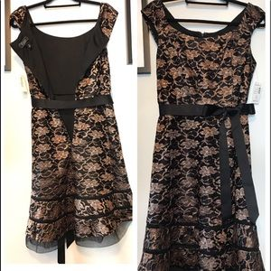 Rose gold lace overlay fit & flare dress NWT